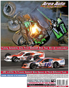 RIDING OUT A ROUGH ONE (top, Photo by Ryan Kissinger) is Logan Wagner, who escaped injury after a wicked series of flips during the 410 Sprint Car event at Pa.'s Susquehanna Speedway; The Northeast pavement Modified season began with the annual Icebreaker at Ct.'s Thompson Speedway Motorsports Park on Sunday! Dueling for victory (above, Photo by Steve Kennedy) in the 150-lap feature for the NASCAR Whelen Modified Tour are eventual winner Timmy Solomito (No. 16) and second place finisher Ryan Preece (No. 6). Preece also competed in the NASCAR XFINITY Series race at Texas Motor Speedway on Friday night, then flew to Thompson for the Icebreaker weekend.