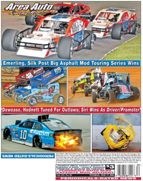 POUNDING THE PAVEMENT (top, Bev & Ken Dippel Photo) in the Richie Evans Memorial for the Race Of Champions Modified Series at N.Y.'s Oswego Speedway are Mike Leaty (No. 25), Matt Hirschman (No. 60) and winner Patrick Emerling; Danica Patrick had a fiery ride (above left, Dean Patton Photo) when her car had a rear gear problem during practice for the Sprint Cup event at Dover; Reese Masiello went for a wicked ride (above right, David Perry Photo) in Late Model time trials at Va.'s Winchester Speedway; Heading for victory (center left, Lew Brubaker Photo) at Williams Grove is Lance Dewease (No. 69K) as he passes Danny Dietrich; The SpeedSTRs thrill the fans (center right, Bob Yurko Photo) at Kutztown, Pa.'s Action Track!