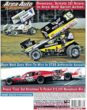 THE WORLD OF OUTLAWS TRAIL led to N.Y.'s Weedsport Speedway (top, Photo by Mike Knappenberger) on Sunday night, where Donny Schatz (No. 15) took the victory. The reigning Outlaw Sprint Car champion caught and passed young Logan Schuchart (No. 1a) for the lead in the closing laps; Saturday night's Winchester 200 at Winchester, N.H.'s Monadnock Speedway offered huge money for the pavement Modifieds. Dueling for top honors (above, Photo by Ayers Racing Images) are Matt Hirschman (No. 60) and Ryan Preece (No. 6). Preece combined tire strategy and on-track expertise to take the $15,000 victory!